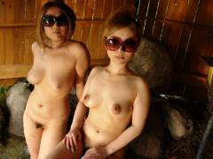 Two hot Japanese chicks service one fat cock